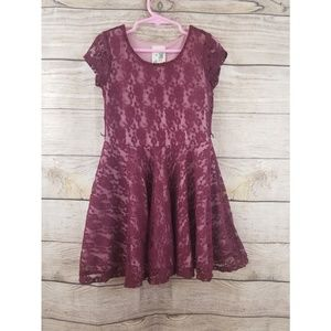 LILY BLEU Girl's Size 5 Maroon Crochet Dress